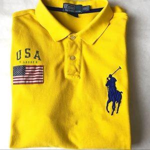 Men's Polo Big Pony Flag Patch Short Sleeve Shirt